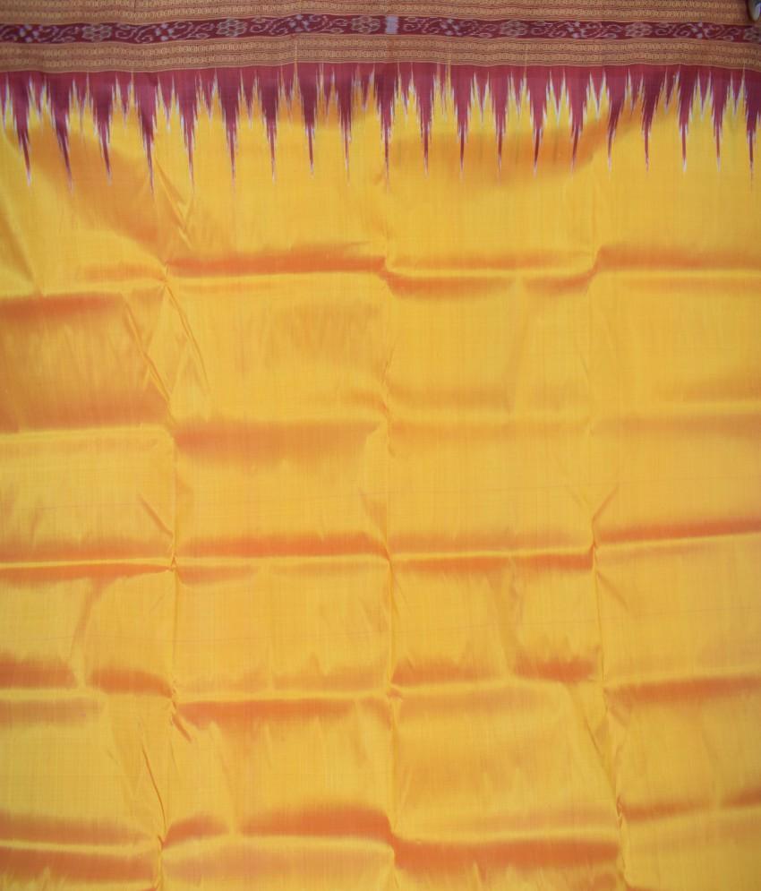 Orange Khandua Silk Maroon Kumbha Border Saree