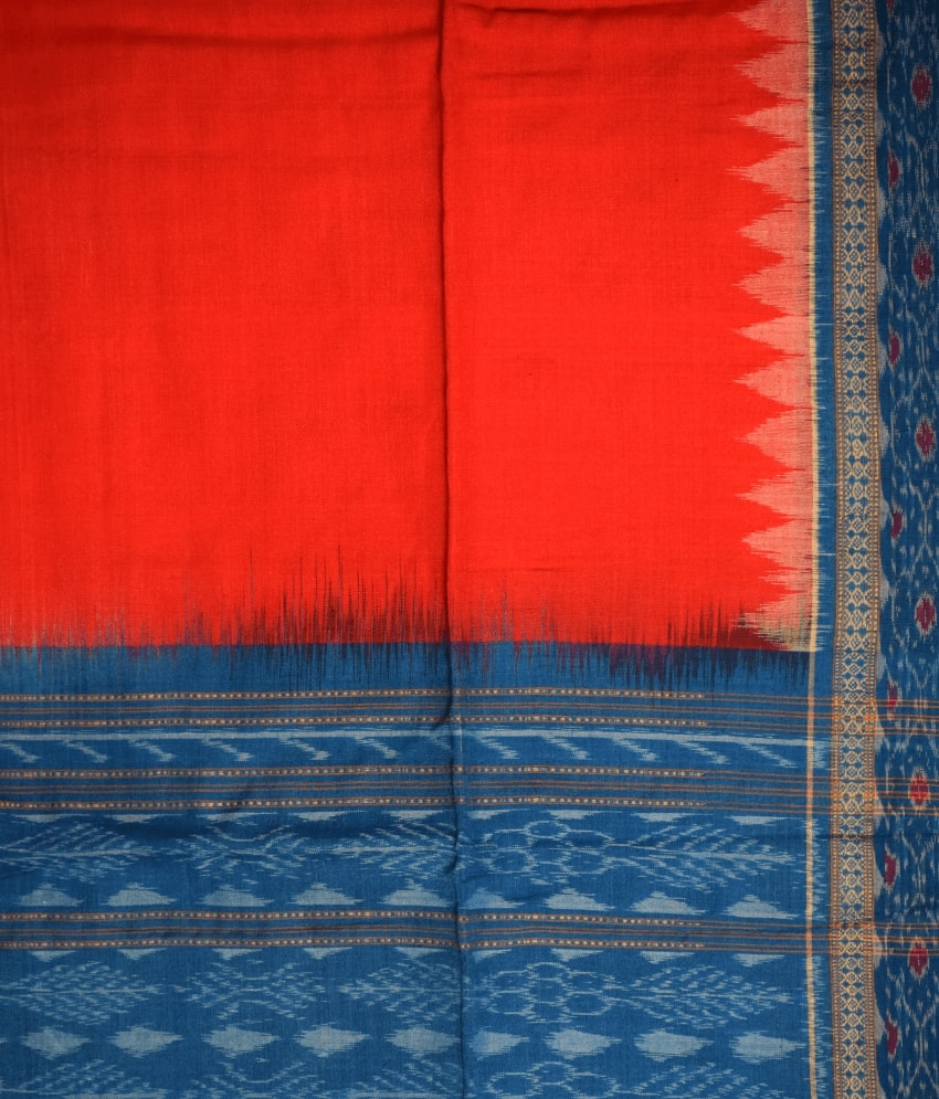 Red & Blue Cotton Dress Material