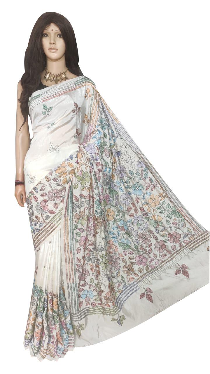 White full body hand work kantha stitch saree with blouse piece