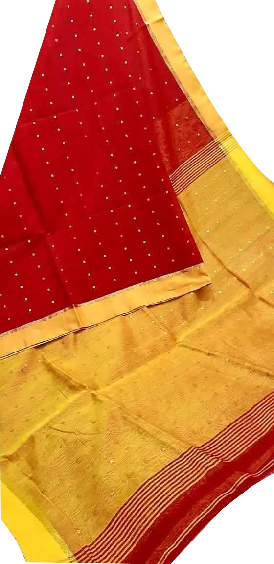 Red and yellow cotton silk sequence saree