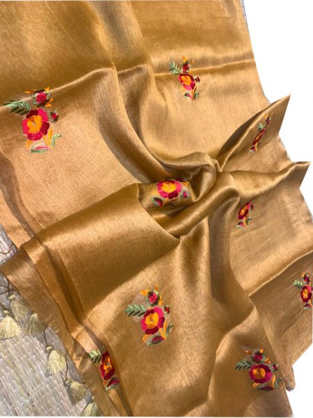 Golden linen embroidery saree with running blouse piece