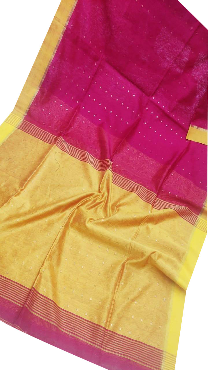 Yellow and pink silk cotton sequence saree