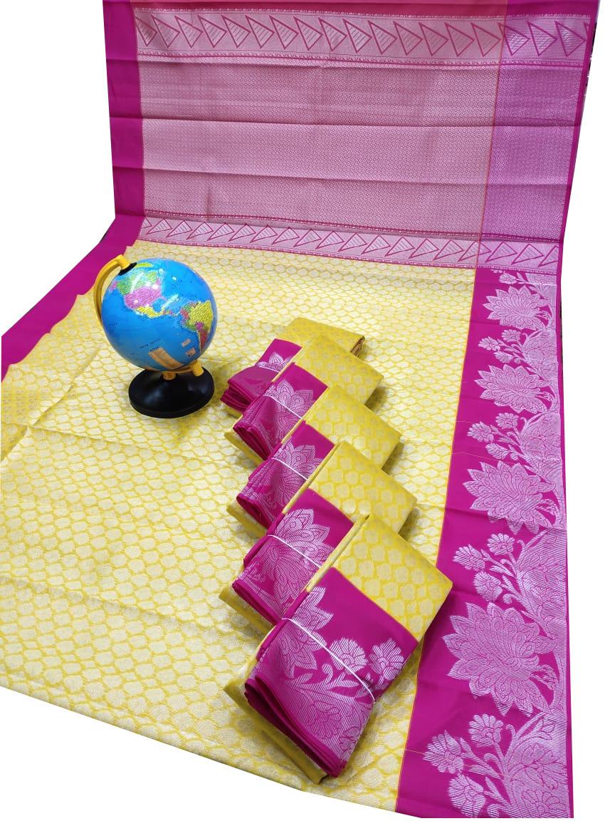 Yellow and Pink Chanderi kuppadam silver design saree