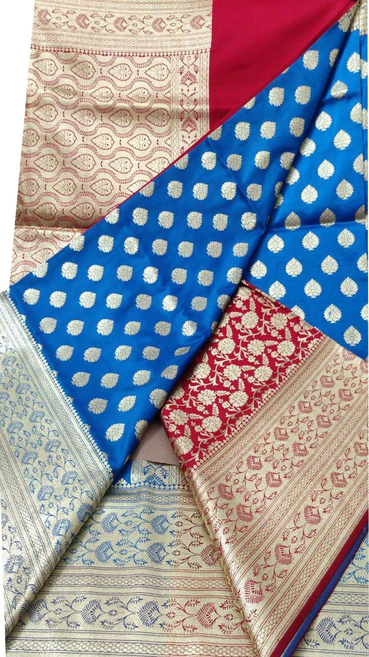 Blue and Red Katan Banarosi saree
