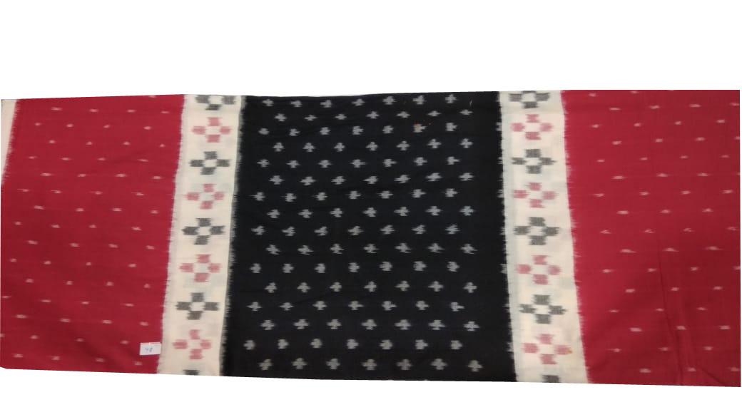 White, black and maroon bandha cotton saree