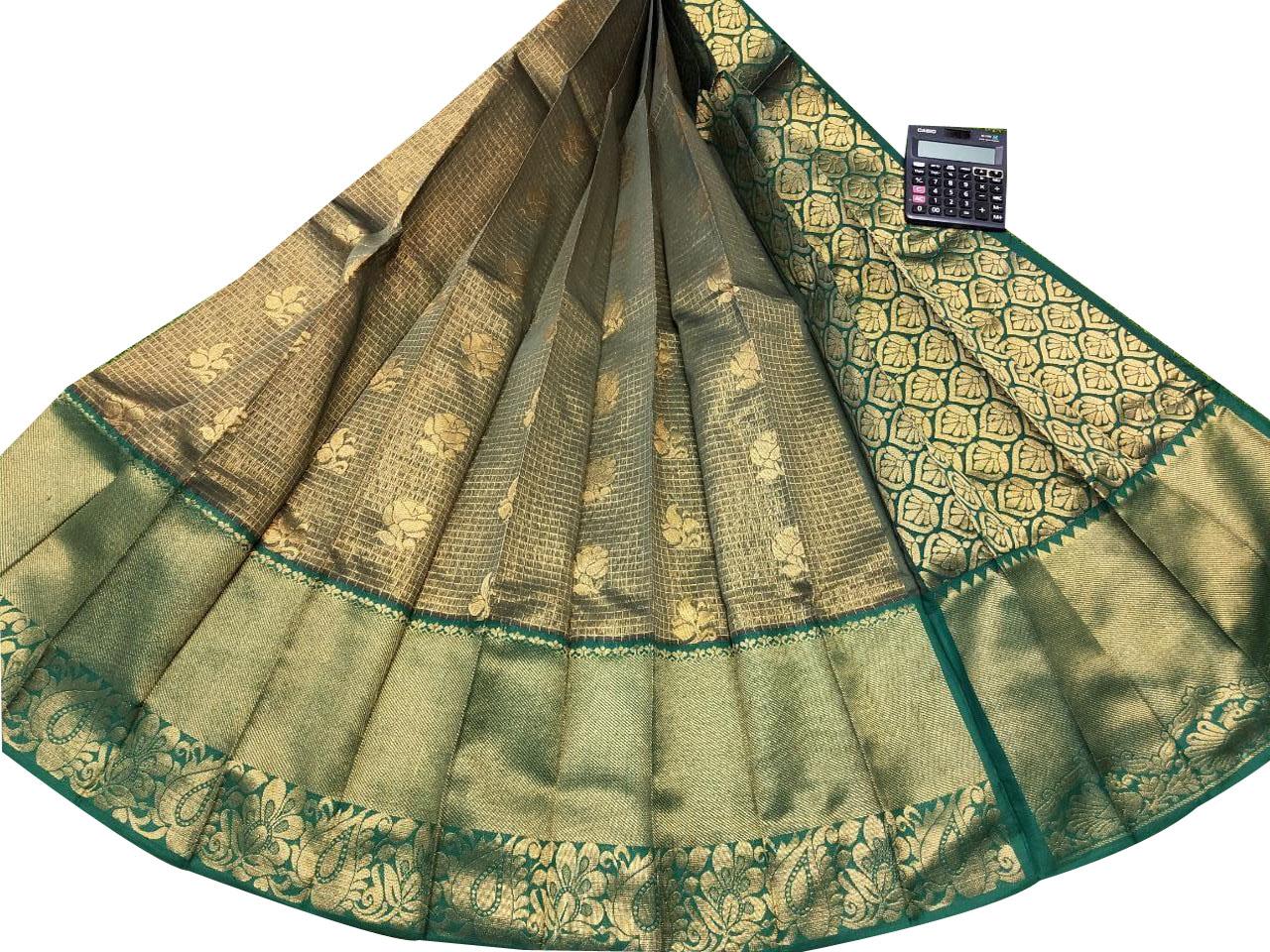 Golden and Green chanderi kanchi kuppadam bridal look saree