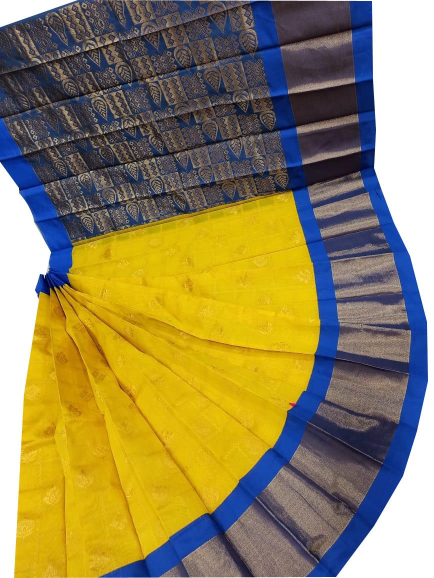 Yellow,Blue and Gray chanderi kuppadam checks butta modal saree