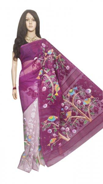 White and Purple hand painted full body work jamdani silk saree