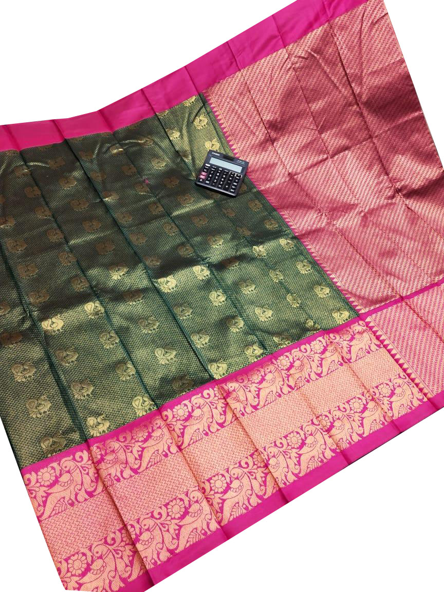 Green and pink chanderi kanchi kuppadam all over butta saree