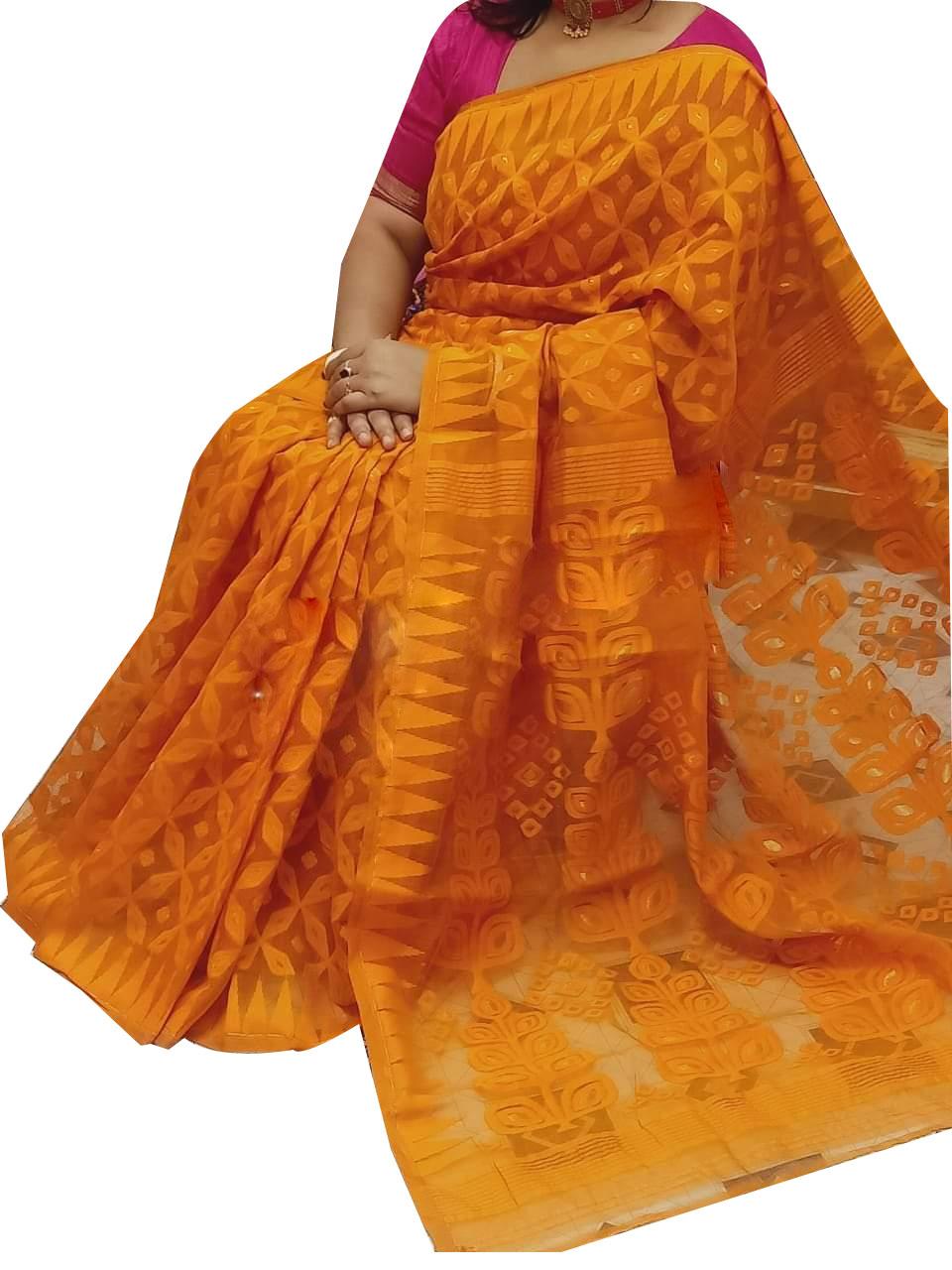 Orange dhakai jamdani high quality saree
