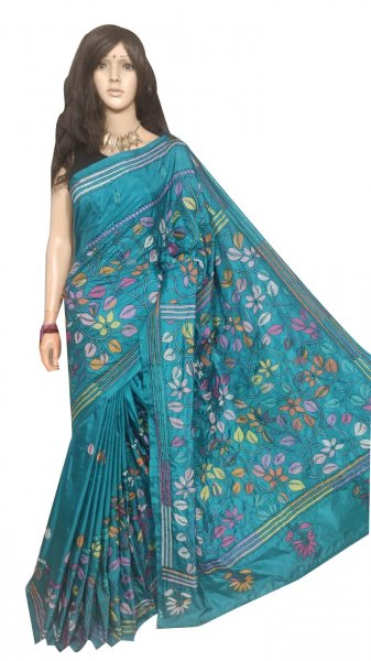 Sky Blue full body hand work kantha stitch saree with blouse piece