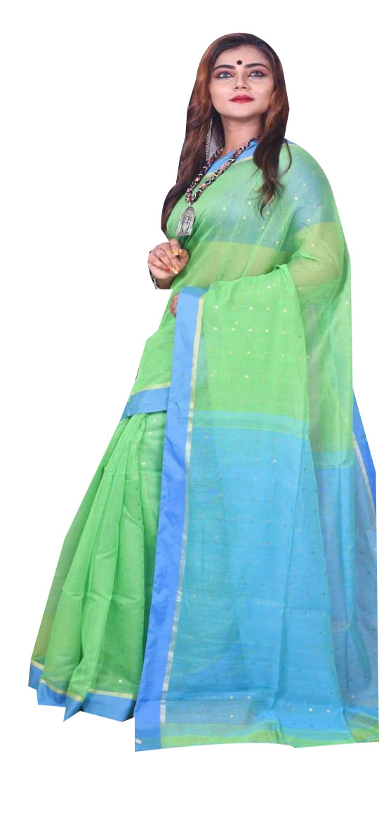 Green and sky blue silk cotton sequence saree