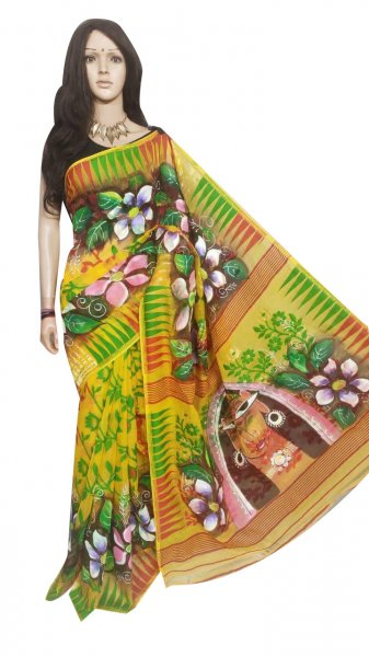 Multi colored hand painted full body work jamdani silk saree