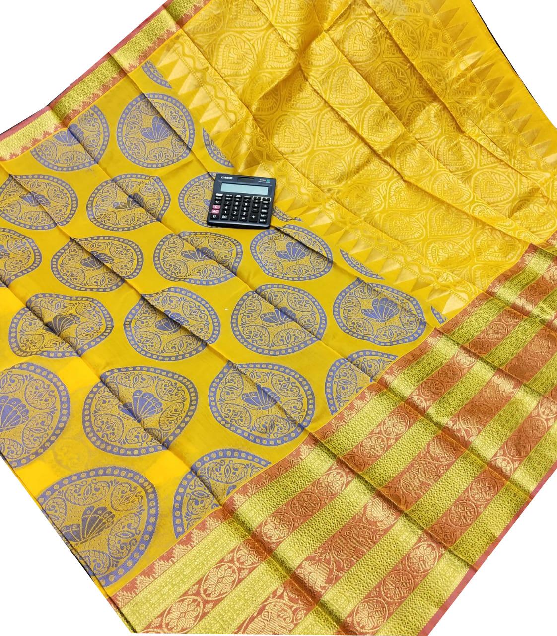 Yellow chanderi kuppadam all over butta saree