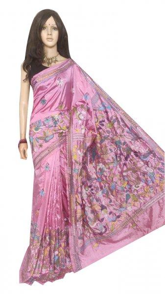 Pink full body hand work kantha stitch saree with blouse piece