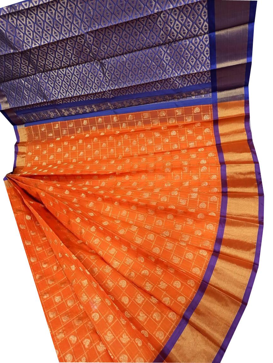 Orange and Blue chanderi kuppadam checks butta modal saree