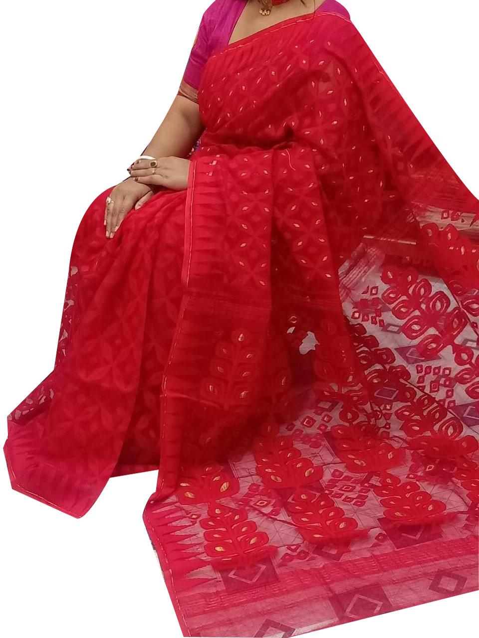 Red dhakai jamdani high quality saree
