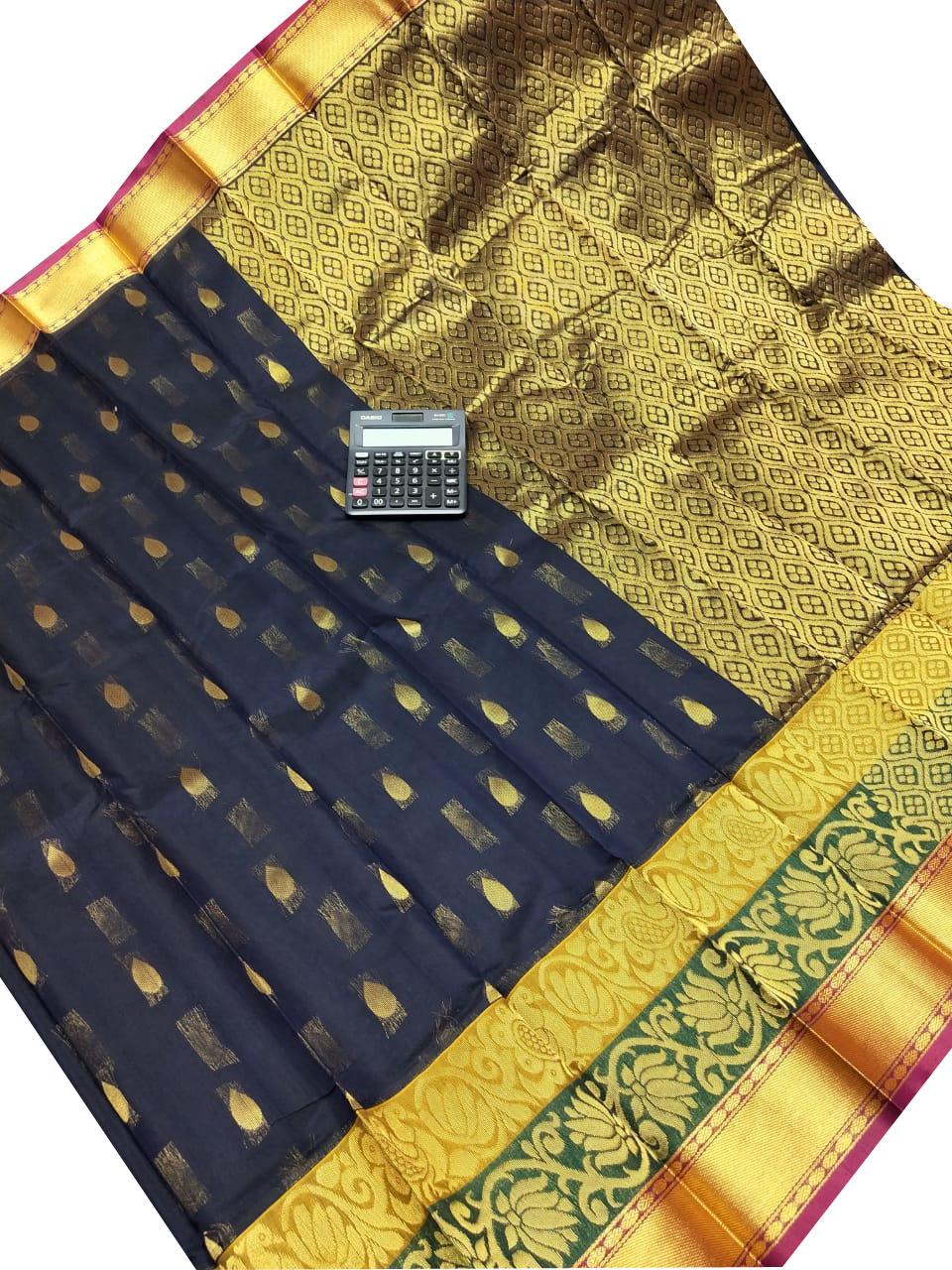 Black and golden chanderi kuppadam all over butta saree