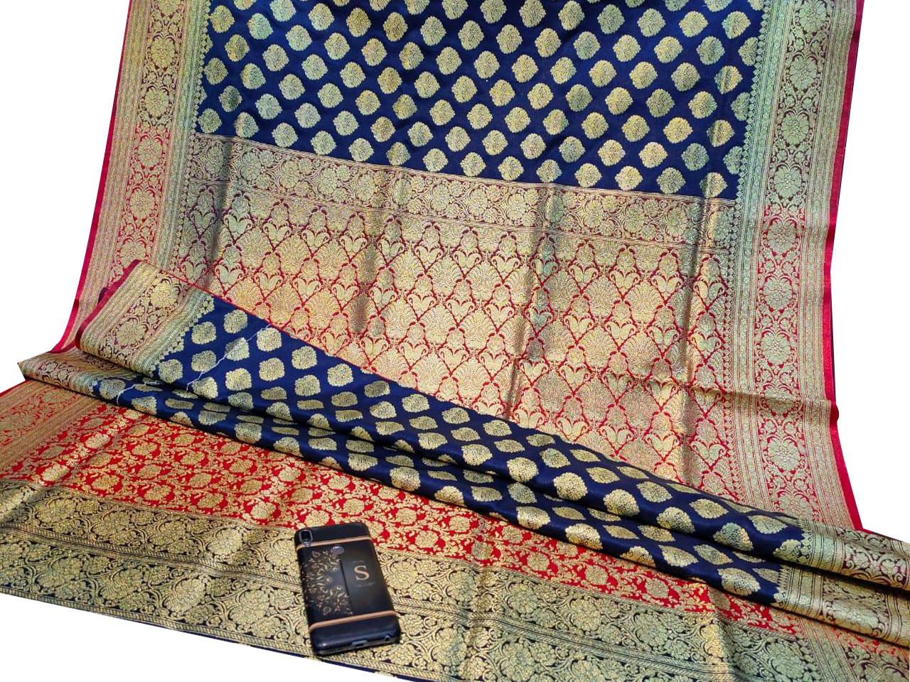 Deep blue and Red katan Benarasi saree with blouse piece