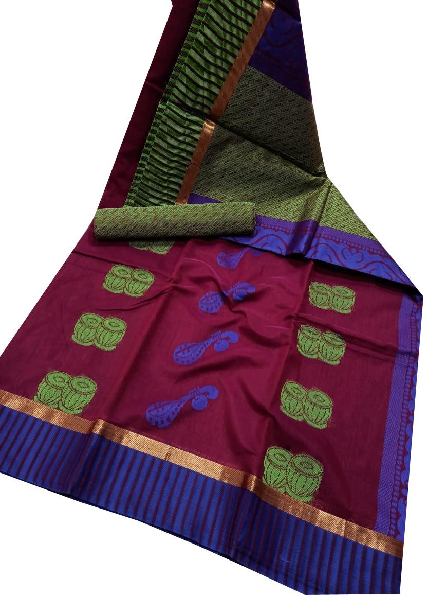 Maroon, green and blue chanderi kuppadam border, butta modal saree