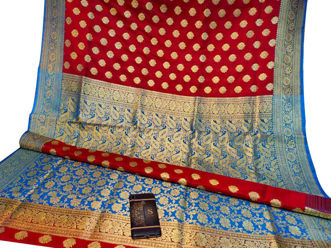Red and Sky blue katan Benarasi saree with blouse piece