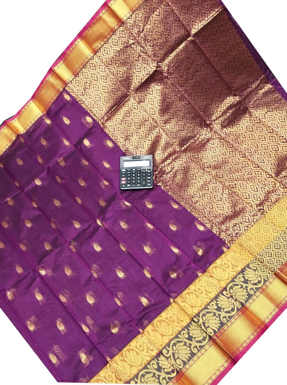 Purple chanderi kuppadam all over butta saree