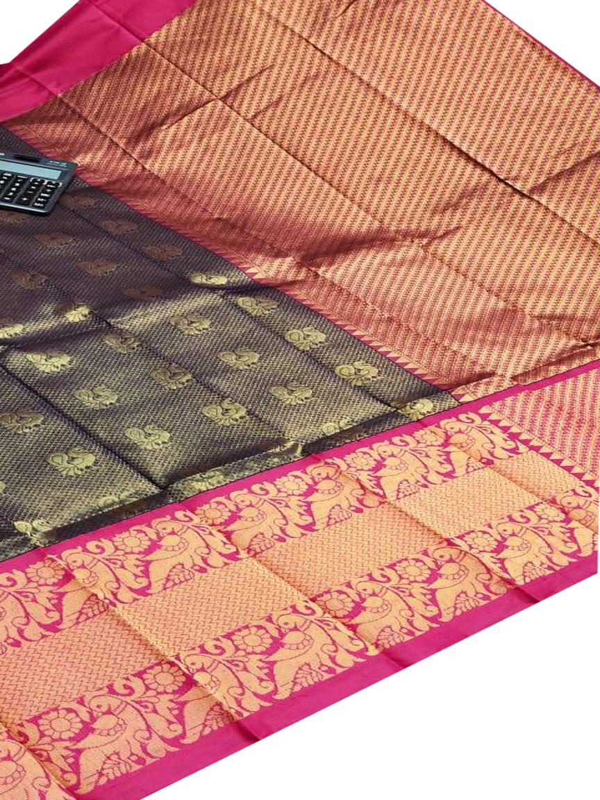 Gray and red chanderi kanchi kuppadam all over butta saree