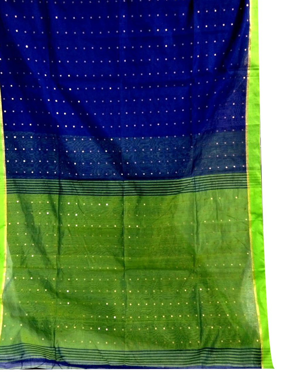 Blue and Green silk cotton sequence saree