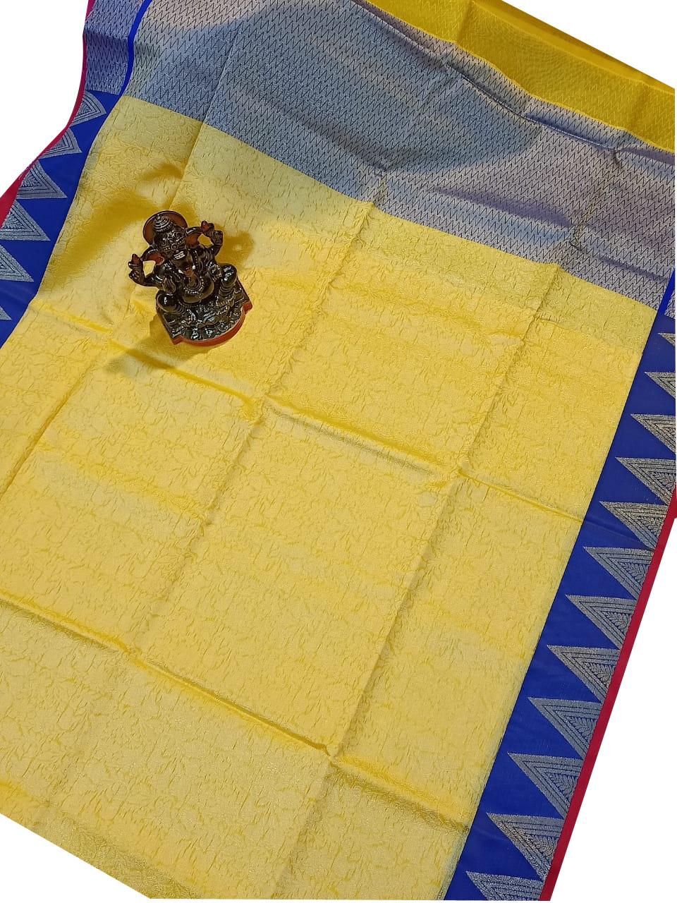 Mustard yellow and Blue kora silk saree with kuppatam border
