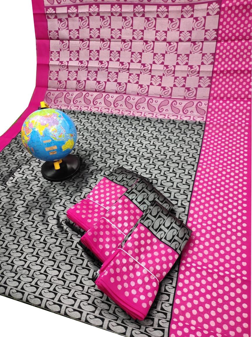 Black and Pink Chanderi kuppadam silver design saree