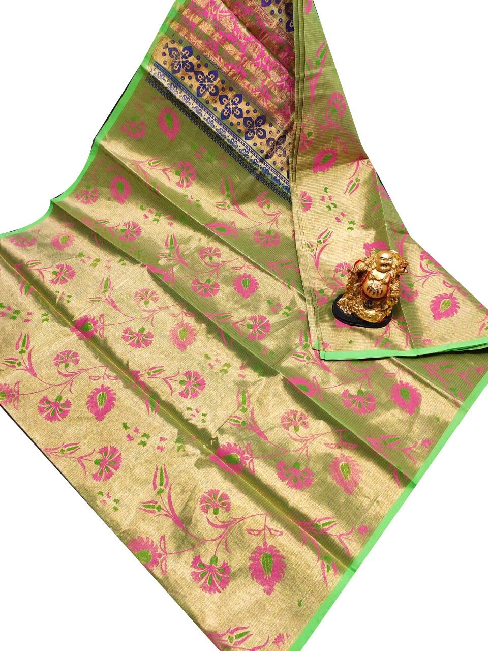 Green, pink and Blue uppada tissue cotton print saree