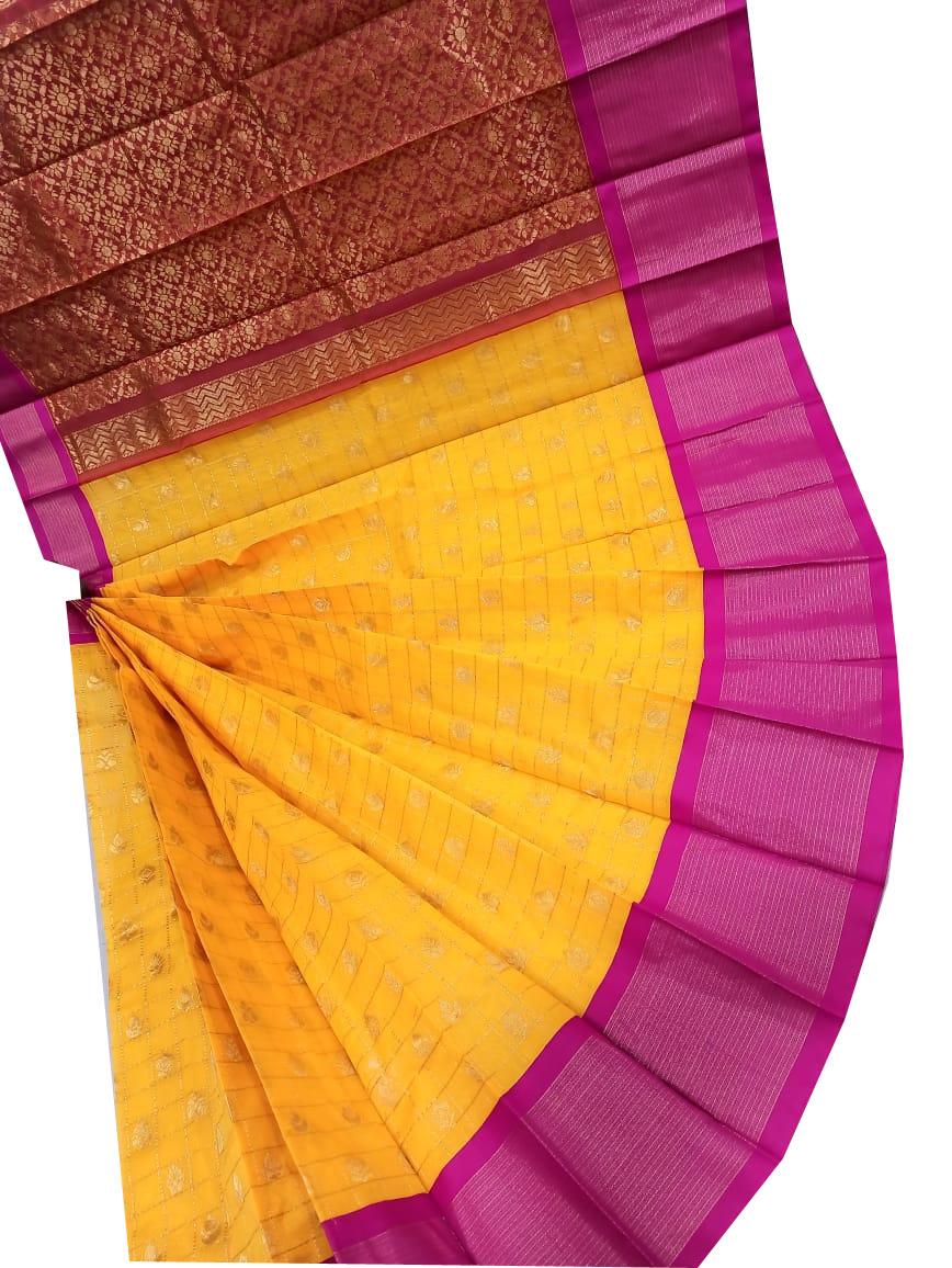 Yellow, pink and maroon chanderi kuppadam checks butta modal saree