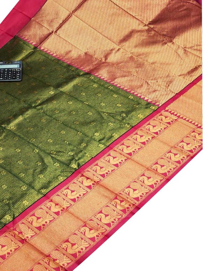 Deep green and red chanderi kanchi kuppadam all over butta saree