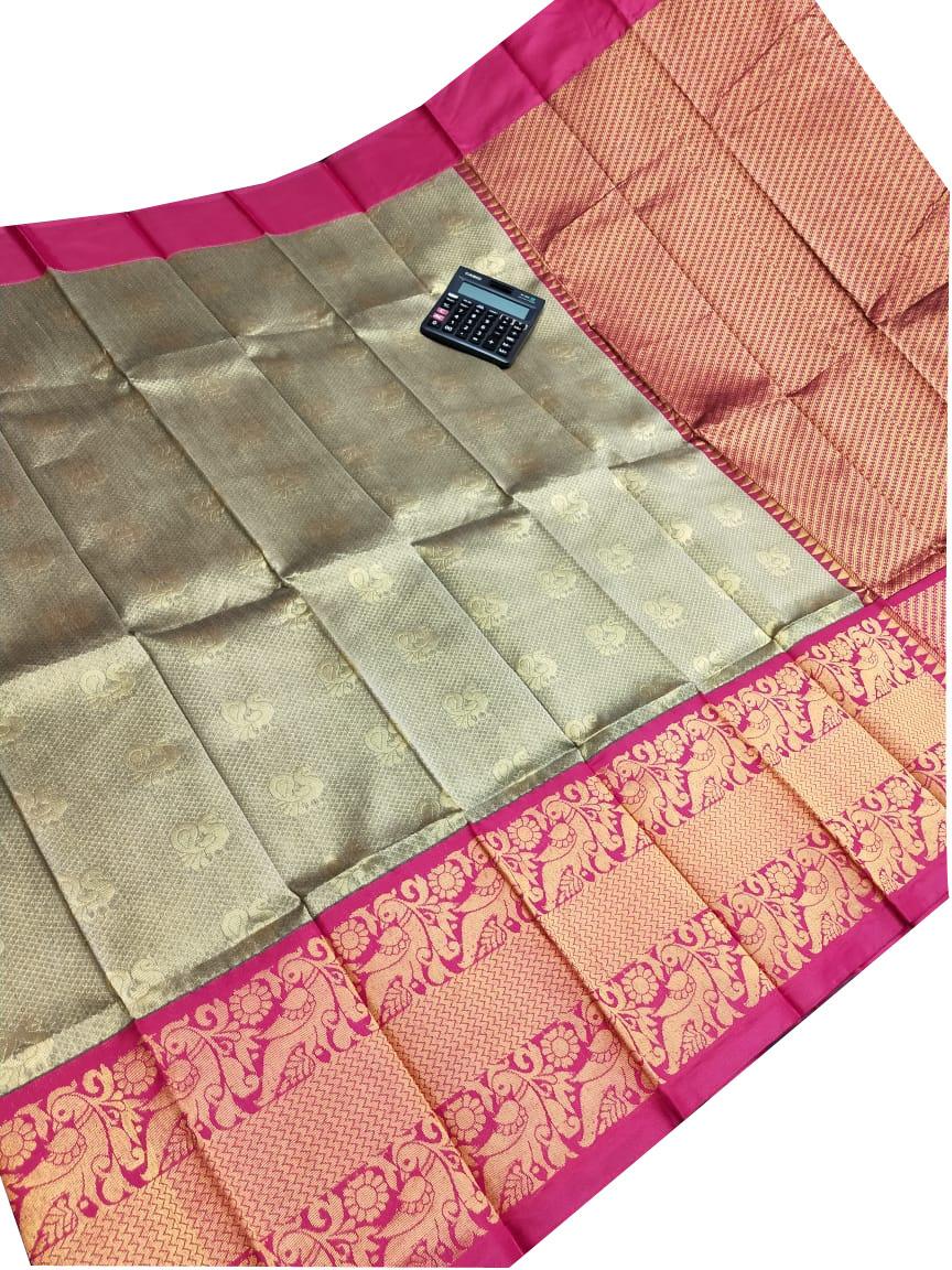 Mint green and pink chanderi kanchi kuppadam all over butta saree