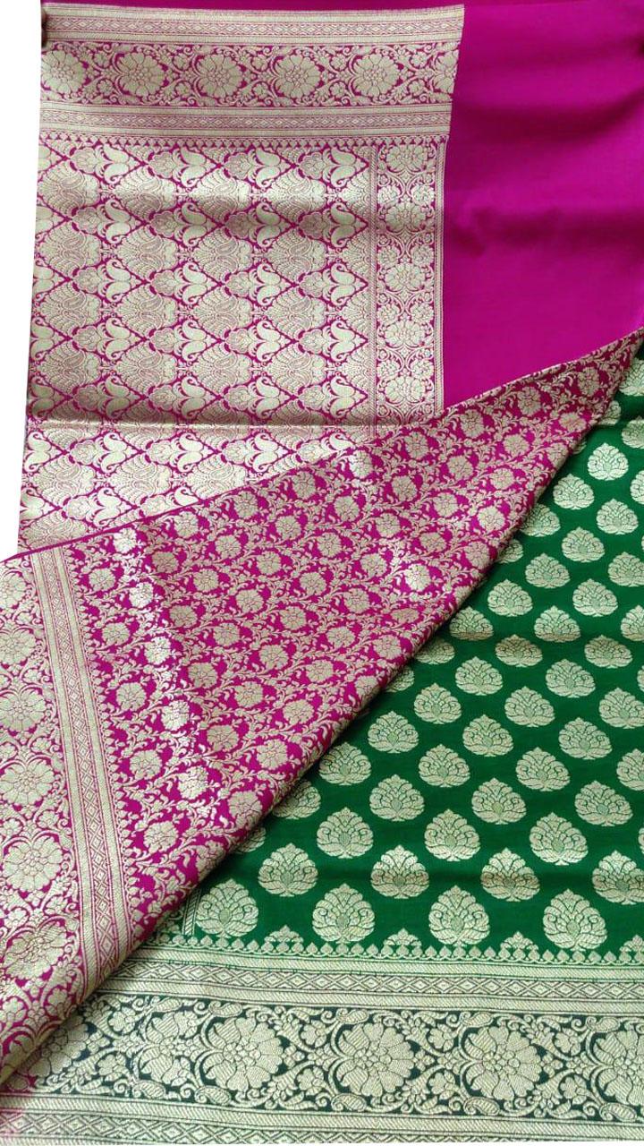 Pink and Green katan Banarosi saree