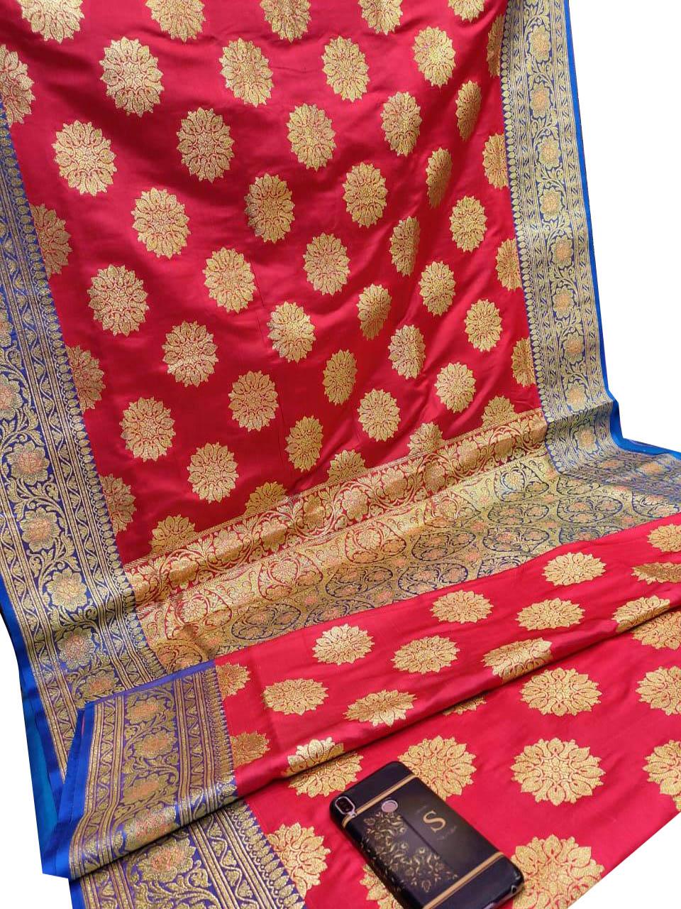 Maroon and Blue pure katan benarasi saree with blouse piece
