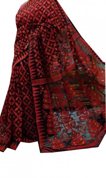 Black and red dhakai jamdani high quality saree