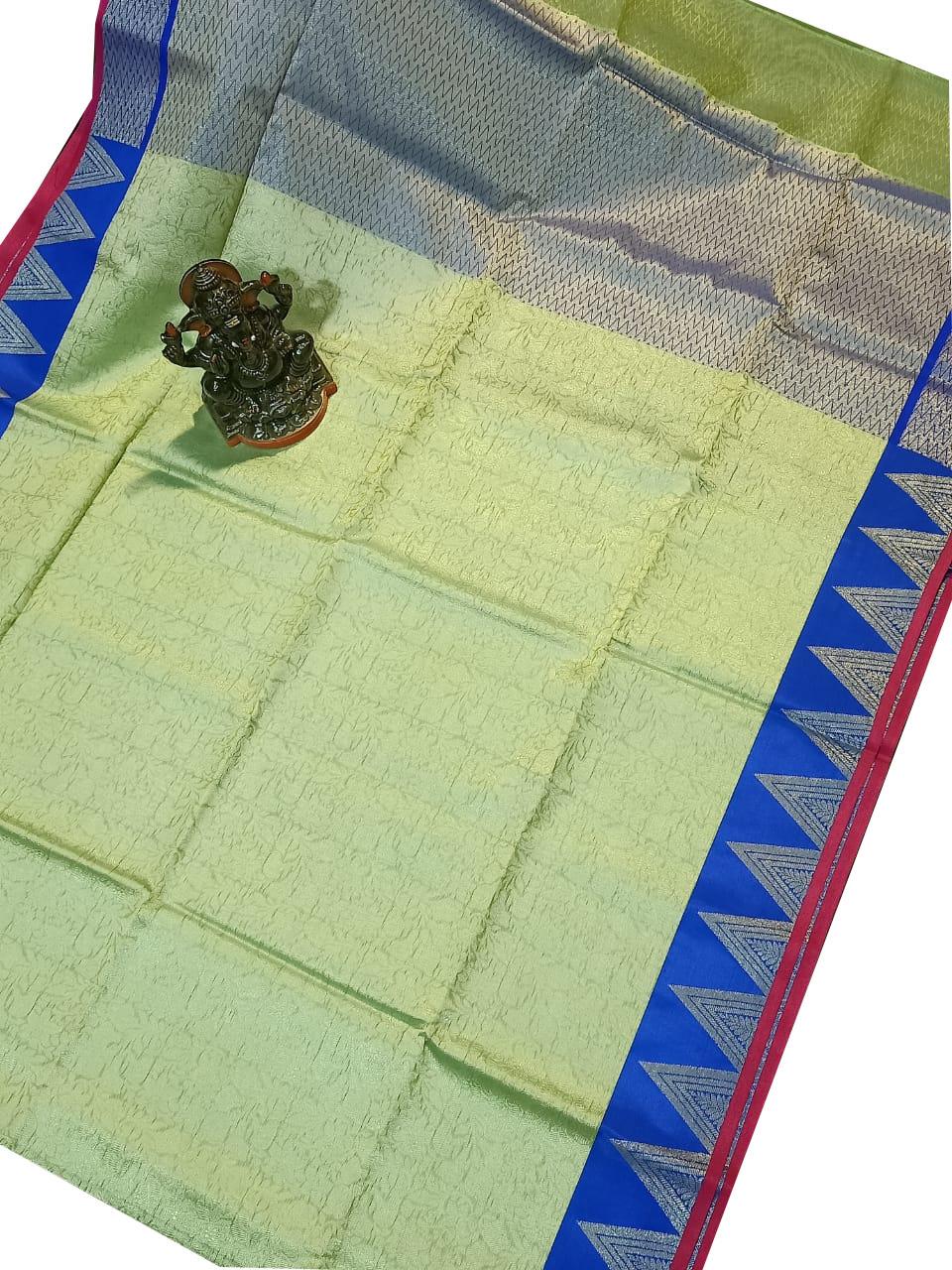 Light green and Blue kora silk saree with kuppatam border