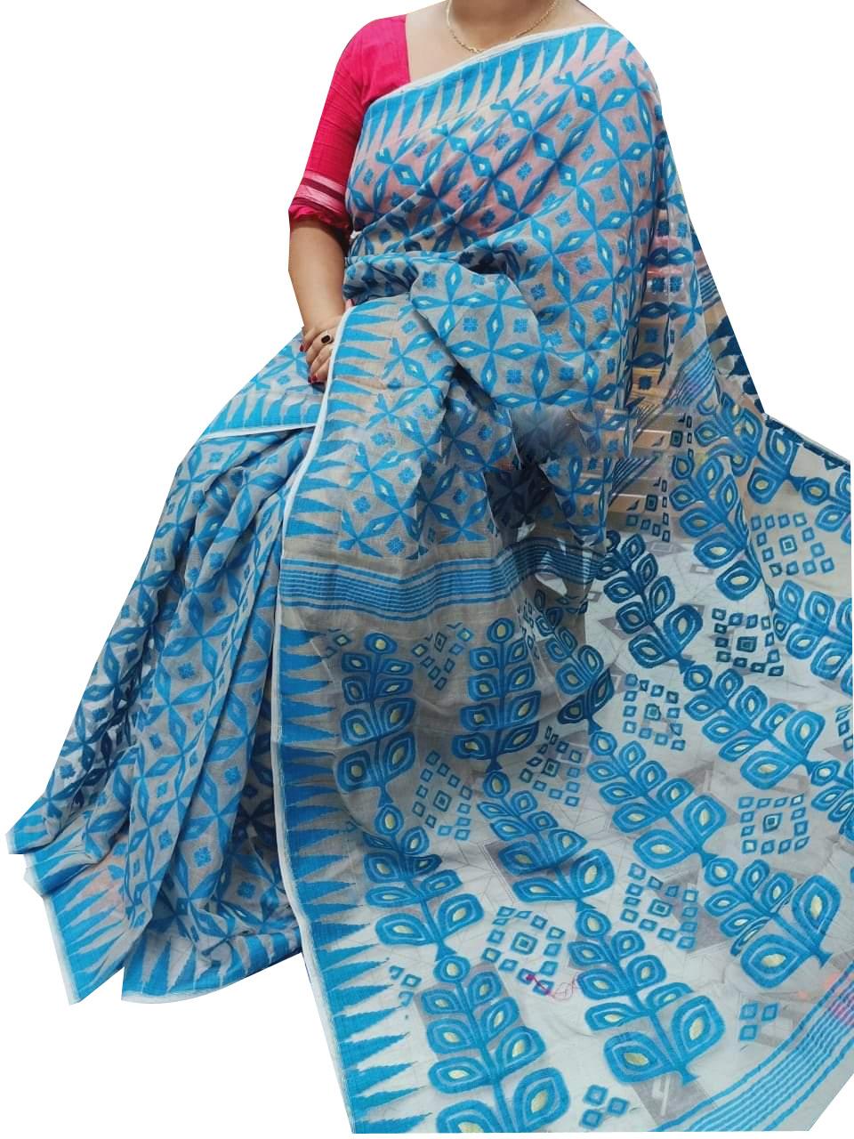 Sky blue dhakai jamdani high quality saree