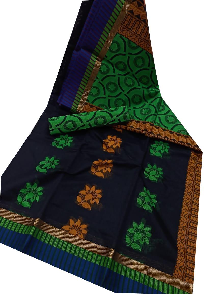 Deep blue, Mustard yellow and green chanderi kuppadam border, butta modal saree