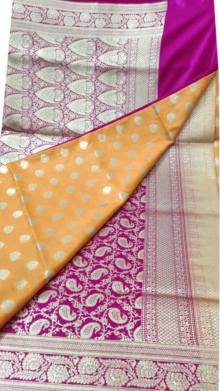 Orange and Pink Katan Banarosi saree