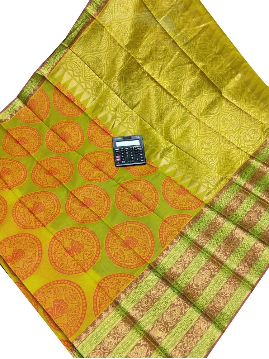 Green and maroon chanderi kuppadam all over butta saree