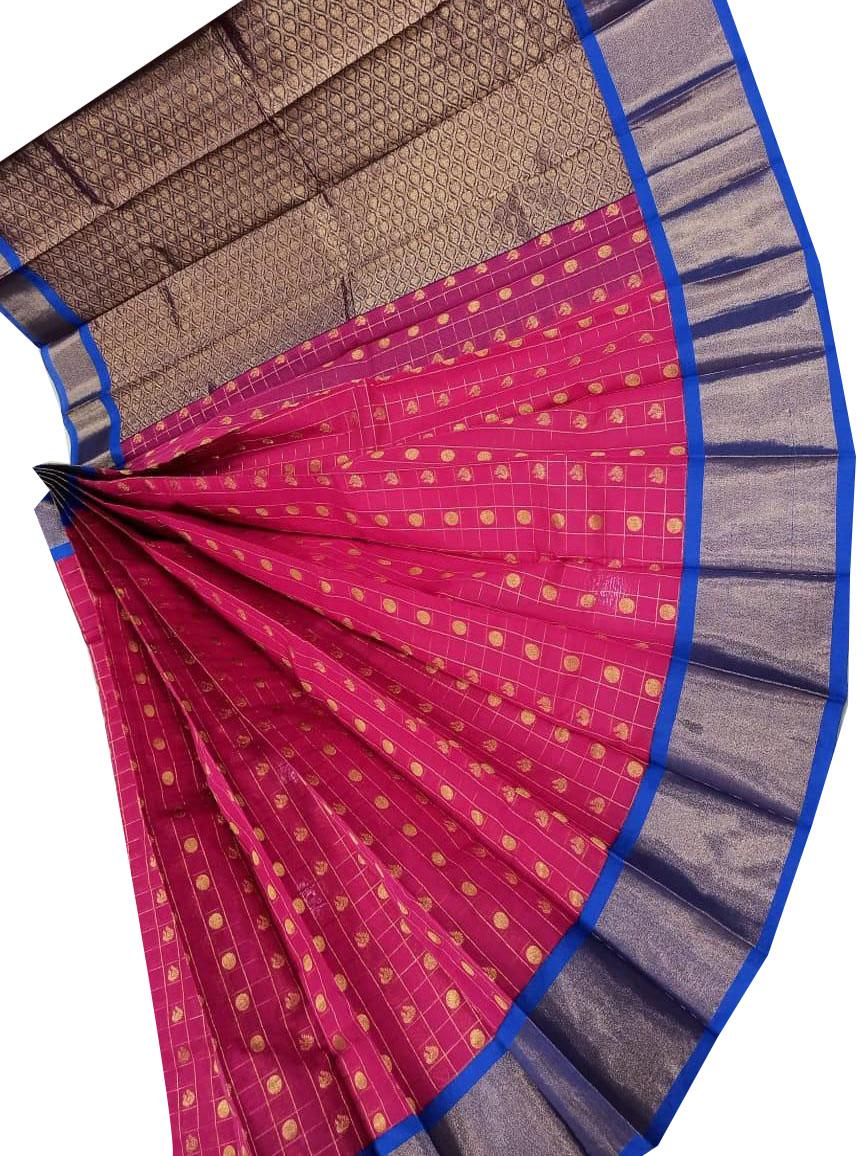 Rose pink and gray chanderi kuppadam checks butta modal saree