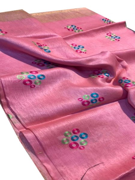 Pink linen embroidery saree with running blouse piece