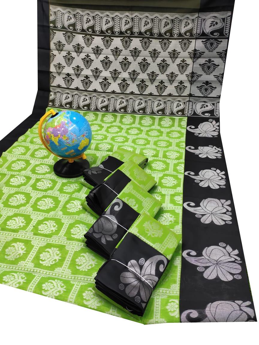 Green and Black chanderi kuppadam silver design saree
