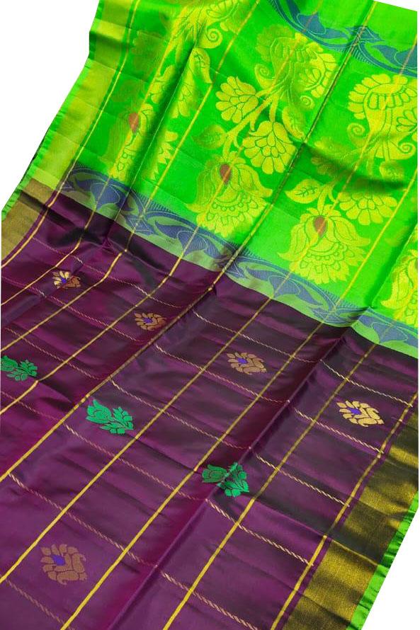 Purple and green uppada all over checks, rich pallu saree
