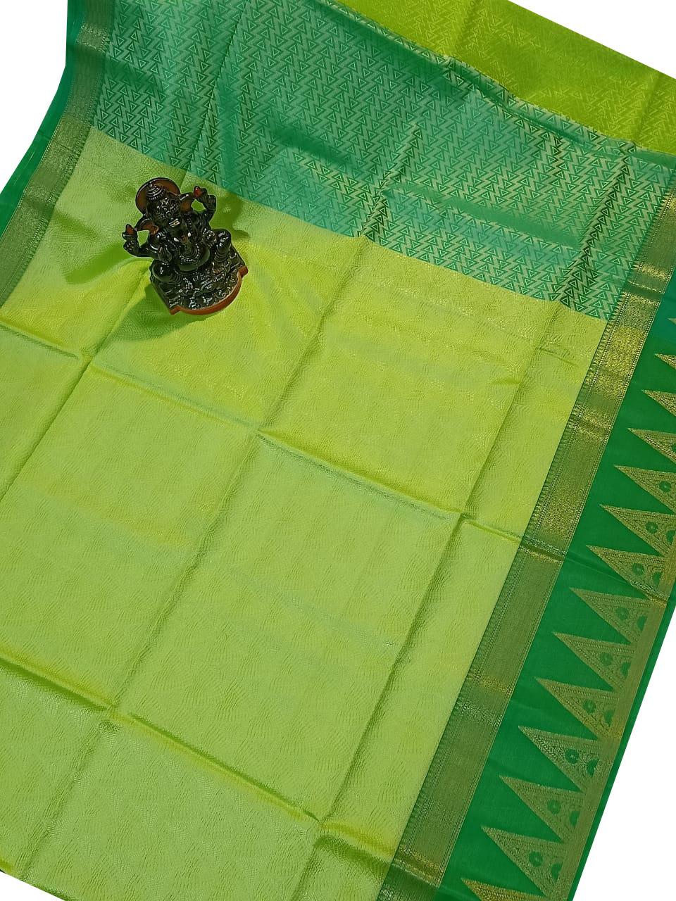 Deep green and Olive green kora silk saree with kuppatam border
