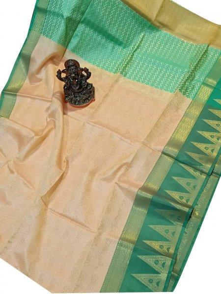Jasmine yellow and green kora silk saree with kuppatam border