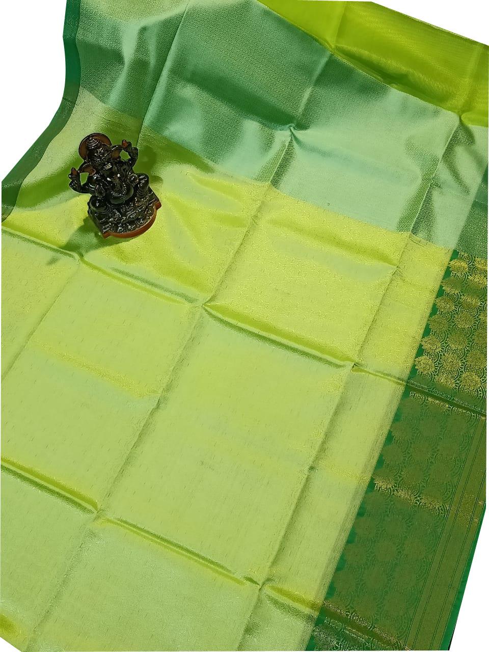 Lime green and Deep green kora silk saree with kuppatam border