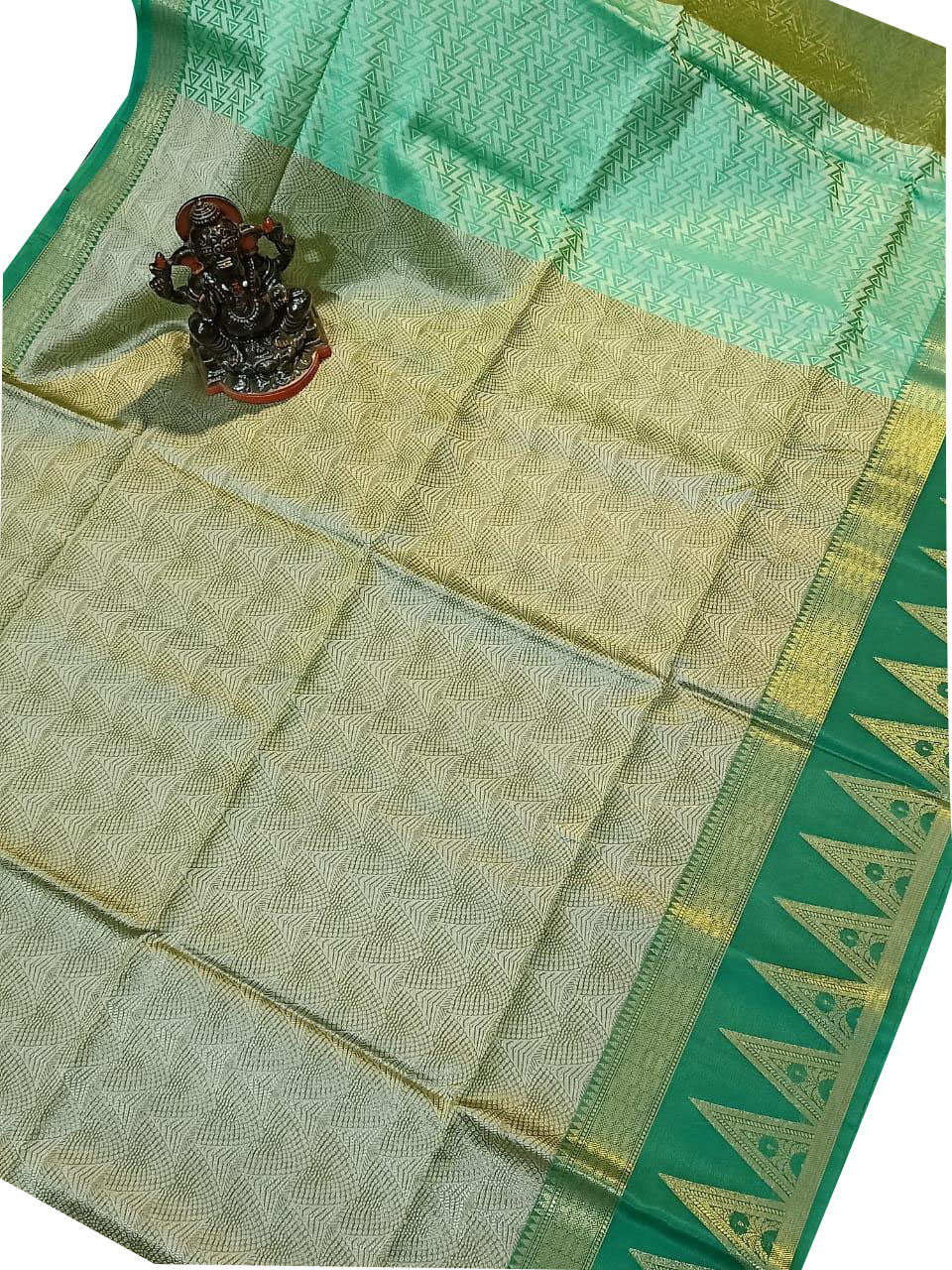 Green and Gray kora silk saree with kuppatam border